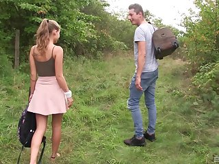 Sweet comme ci teen babe Tiffany Tatum gets a hard pussy fuck outdoors