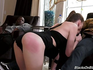 Phthisic white chick Alex Blake tries to cope with two stupendous aggressive black dongs