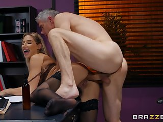 Experienced pauper fucks Abella Danger to hand work increased by cums on her ass