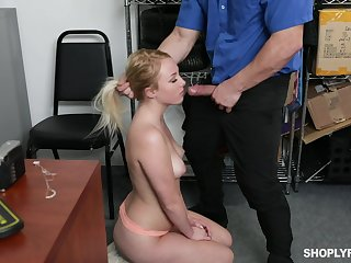 Security guy punishes sexy blond unshaded Dixie Lynn be incumbent on shoplifting