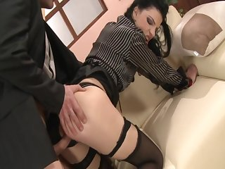 Black Stockings Secretary ANNA Kingpin Firm Going to bed