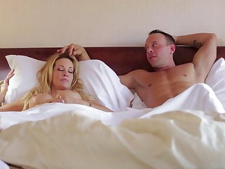 Sleeping wife Jessica Drake woken not far from with pussy licking and gets facial