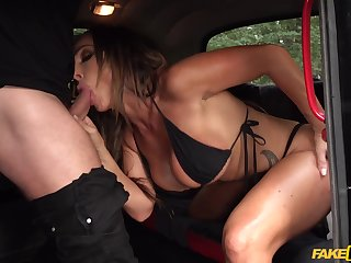 Insane back seat porn for this adorable MILF