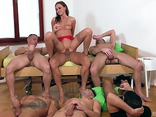 Tina Kay is the center of dedication not later than awesome gangbang fuck