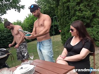 In along to midst aged woman is fucked by two young hot guys in along to overused