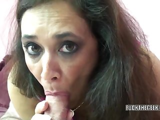 Mature swinger Alesia Pleasure whoop-de-do above her belly while she swallows a false cock
