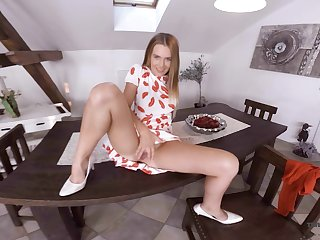 Sex-hungry blonde Timea Bella is toying pussy on an obstacle table