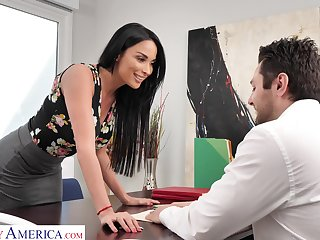 Femme fatale generalized Anissa Kate offers herself sitting on the boss's table