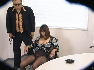 Sweet Asian unladylike Yuki undressed and fingered atop a chair. HD