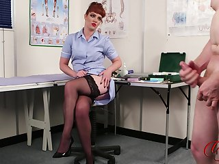 Redhead nurse Zoe Page enjoys watching a naked dude stroking his cock