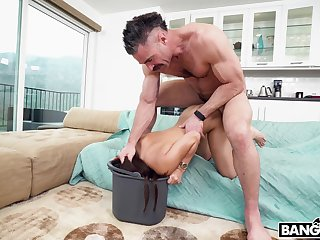 Sweet maid gets her tight snatch pounded away from her employer's rock hard load of shit