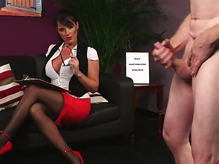 Naughty secretary Raven Lee gets turned on from her boss's cock