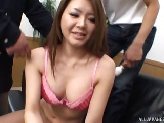 Two dudes team surrounding to fuck mouth and pussy of a cute Asian girl