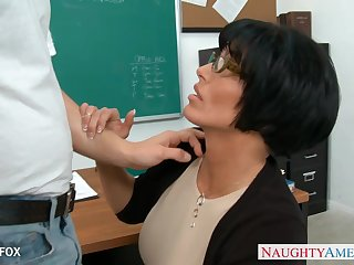 Horny strict MILFie tutor Shay Fox seduces her pupil and gets nailed