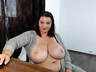 Drunk fat nerdy with big boobs window-dressing on webcam