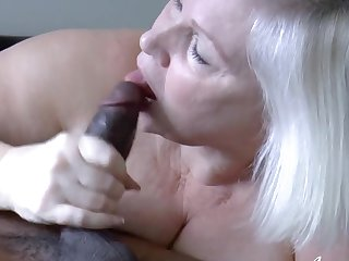 Hardcore blowjob added to libidinous intercourse for mature woman added to black guy