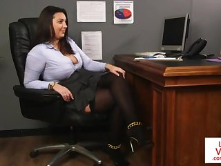 Office costly teaches slave fucking partner to masturbate